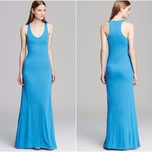 Vince V Neck Maxi Dress Racerback Blue Soft